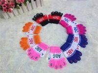 Wholesale Direc selling new crochet lettern style baby unisex figer gloves children soft warm mitten gloves K0209
