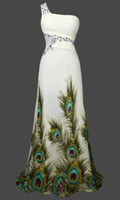 peacock dress - New Arrival One Shoulder Unique Peacock Printing Beaded Rhinestone Pleats Maxi Chiffon Wedding Dresses Bridal Gowns