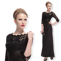 Wholesale New Arrival Hot Black Lace Bodice Mix Taffeta Sexy Elegant Long Formal Dresses Lace Sleeves Beautiful Evening Dresses Gowns