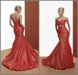 Wholesale Mermaid Sweetheart Ruffles Beaded Crystal Pleats Empire Waist Lace up Court Train Taffeta Prom Gowns Formal Evening Dresses DL1309163