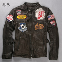 Wholesale SPECIAL Men s genuine real Leather Jacket AVIREX Air Force clothing motorcycles JACKET M XL brown
