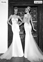 Wholesale 2017 New Wedding Dresses Cap Sleeves Galialahav Bridal Formal Gowns Mermaid White Ivory Champagne Lace Bridal Wedding Gown Nicole E2016