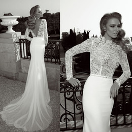 New Lace Vintage 2019 Wedding Dresses With High Collar Backless Mermaid Court Train Chiffon White Glamorous Zoog Bridal Gowns Hot Customed