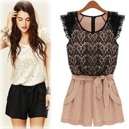 Wholesale Rompers lace openwork stitching collision color ladies Siamese culottes summer women dress jumpsuits