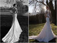 Wholesale Sexy V Neck Mermaid Wedding Dress with Sheer Lace Straps Chapel Train Lace inbal dror Backless Garden Wedding Dresses Bridal Gowns