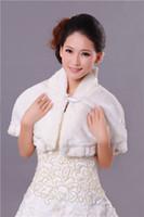 Wholesale Beautiful New Elegant High Collar Women Shawl Bridal Wedding dress Cape Fine Fur Wrap shawl coatsst white016