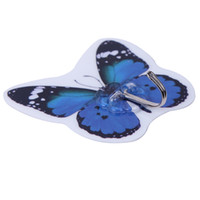 Wholesale Cute Butterfly Shape Suction Wall Hook Coat Hook Blue Bathroom Command Sucker Hook ZKX3