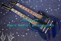 Solid Body 6 Strings Mahogany New arrival Custom Shop G Double Neck 1275 SG Solid Body Electric Guitar Blue 100% Excellent Quality Guitars !!!