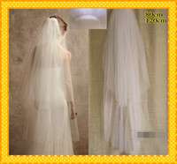 beautiful fashion net - Custom Fashion Two Layers Solf Tulle White Ivory Cut Edge Cheap Wedding Bridal Veils Veil With Comb Real Image Beautiful