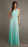 Cheap Bridesmaid Dresses Sexy one shoulder A line floor length 2014 prom dresses party dresses with beads sash BO3823