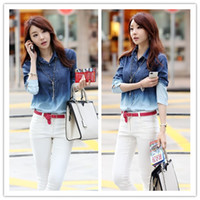 Wholesale Personalized Gradient Denim Shirts Lapel Long Sleeve Cardigan Shirts Korean Fashion Women Outwear Uppers KR0835