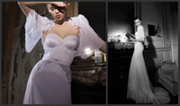 Wholesale Sweetheart Mermaid Wedding Dresses with Half Sleeves Lace Chiffon inbal dror Backless Wedding Gowns