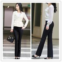 Pants Women Classic Straight OL Temperament Women Suit Pants Middle Waist Straight Trousers Black Casual Pants Lady Fashion Pants KR0824