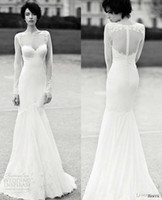 Trumpet/Mermaid Reference Images Sweetheart Sweetheart Mermaid Wedding Dresses with Sheer Shoulder See Through Body Long Sleeve Lace berta bridal Tulle Backless Beach Wedding Gown 2014