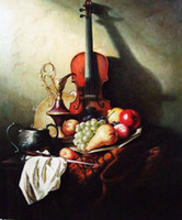 One Panel Oil Painting Still Life  Large Oil Painting For Sale Classical Western Style Handmade Canvas Art of the Fruits Oil Lamp and a Violin on the Desk Unframe Paint DHP066