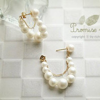 Wholesale 6 lotMin order is mix order Fashion Double Earrings White String of Pearls Earrings E178
