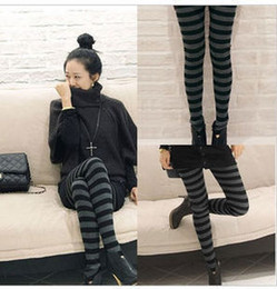 Wholesale New Fashion Autumn Winter Girls Leggings Casual Pants Black Grey Horizontal Stripe Warm Legging Skinny Pants For Women