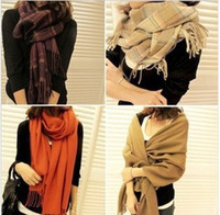 Wholesale 2013 New Arrive Shawl Fashion Grid Patterm stripe plaid Scarf Winter Lady Long cashmere thick Knitted Pashmina Scarves Wraps