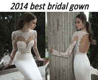 Wholesale 2014 spring wedding dresses with high neck heart shape bodice illusion long sleeves sheer lace top open back sheath mermaid bridal gowns BO3
