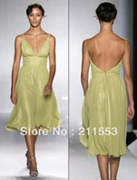 Reference Images Sleeveless V-Neck Designer Lime Green Chiffon Deep V-neck Tea Length Bridesmaid Dress