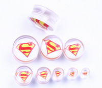 Wholesale Superman Ear Tunnels - mixed 9 sizes clear acrylic superman ear plug ear tunnel body piercing jewelry free shipping