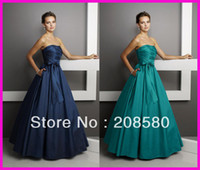Wholesale Navy Blue Pleated Taffeta Strapless Floor Length Bridesmaid Dresses Bow With Pockets B818