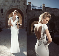 Sheath/Column naked 2 - Cap sleeves wedding dress with sheer lace cuts out straps V neck pearls naked open back sheath belt Memaid slim spring bridal gown ZS01