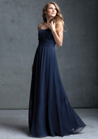 Wholesale Hot New Soft Hot Sale Empire Strapless Chiffon Navy Blue Bridesmaid Dresses