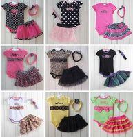 Girl girl - Retail Summer Girls Suits Short Sleeve Rompers Bowknot TUTU Skirts Baby girls bodysuit skirt headband suits