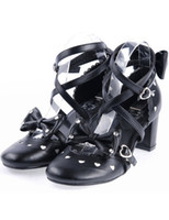 Wholesale Hot Sale Halloween Black Cross Pattern Punk Square Heel Bow PU Lolita Shoes r14 u7 CmC