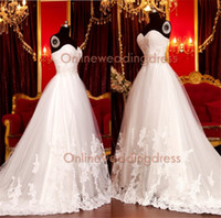 Wholesale 2014 New Elegant A line Sweetheart Beads Crystals Lace Corset Appliques Beads Tulle Long Train Wedding Dress lace back wedding Gowns SW0008
