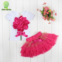 Girl Summer Short Free shipping Wholesale girls cartoon big flower clothing sets kids tops+skirts 2-pcs outfits bowknot TUTU skirt cute 3 colors LZ-T0102
