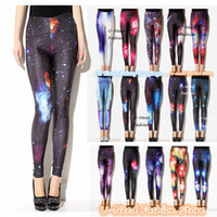 Cheap 2pcs lot High Elasticity Galaxy Leggings Stylish sexy women leggings shiny galaxy leggings girls colorful tights pantyhose lady pants