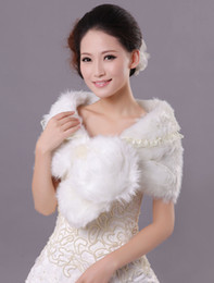 Wholesale Front Tie Lace Faux Fur Bridal Wedding Shawl evening dress bolero jacket r58 u11 c