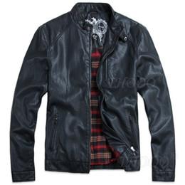 Wholesale THOOO New HOT GENTLEMEN S Black pu leather classic fashion Slim Coat Motorcycle jacket szie M L XL XL XL XL XL