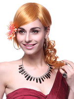 Wholesale Shiny Orange Curly Women s Medium Wig r66 u7 lPa