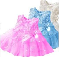 TuTu baby smocked dresses - Fashion New Baby Girls Vest Lace Dresses Children Cotton Flowers Smocked Bowknot Sash Gauze dress