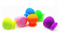Wholesale Waterproof Mushroom Silicon Suction Cup Mini Wireless Bluetooth Speaker Handfree cellphone holder with retail package