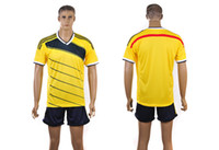 Wholesale Colombia Home Jersey Brazil World Cup Soccer Jersey Hottest Newest Blank Jersey Yellow Football Shirts with Dark Blue Shorts Mix Order