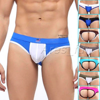 Cheap 2PCS Hot Sexy Men's Mens Underwear Thong G-String Backless Open Back Splice Briefs Jockstrap Jock Strap Low Waist Pouch Underpants S M L XL
