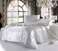 Wholesale Fast luxurious Silk bedding sets color white king queen Full Twin mulberry silk dyed fabric ls2126