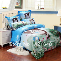 Wholesale Hot Fashion cartoon for kids cotton bedding set piece totoro bed sheets duvet cover chinchilla bed