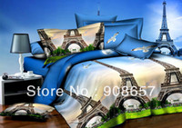 Adult Twill 100% Polyester Europe oil painting Eiffel Tower blue prints 3D bedding set discount queen full size bed linen duvet covers for quilt comforter