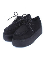 Wholesale Black Lace Up Monogram Suede Woman s Platform Shoes r37 u12 nU