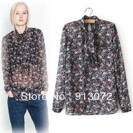 Wholesale ST1083 New Fashion Ladies Elegant Floral print bow tie s office lady long sleeve shirts casual slim brand designer tops