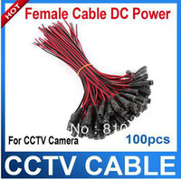 Wholesale 100 CCTV Security Camera Power Pigtail female Cable DC power connector cable V monitor connector