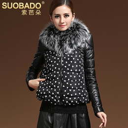 Wholesale Suoba duo new women s winter fashion fur collar stitching washed leather jacket PU leather jacket