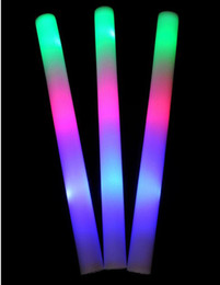 led party supplies glow sticks led foam sticks High quality LED Colorful rods Light Sponge stick + LOGO Sticker