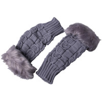 Wholesale Warm Women Rabbit Fur Half Finger Gloves Soft Plush Grey Fingerless Mittens DSK9