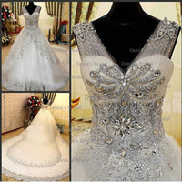 Wholesale 2014 New Luxury Rhinestones A Line V Neck Lace Up Cathedral Train Wedding Dresses with Appliques and Beaded Dhyz